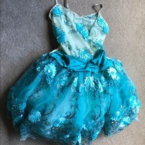 Turquoise Floral Tutu Dance Costume